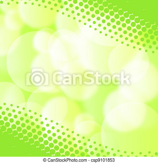 Green spring background with blurry light - csp9101853