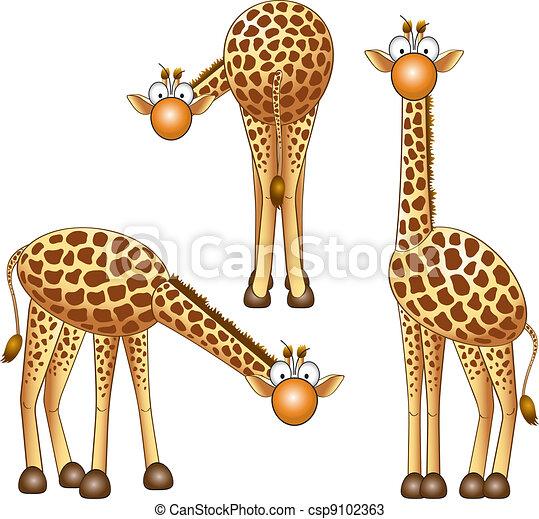 Vecteurs de girafe rigolote girafe diff rent - Girafe rigolote ...