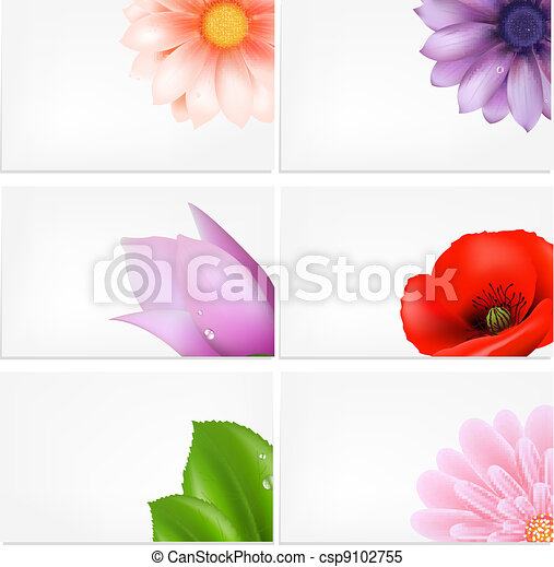 Vector Set Of Greeting Cards With Flowers - csp9102755