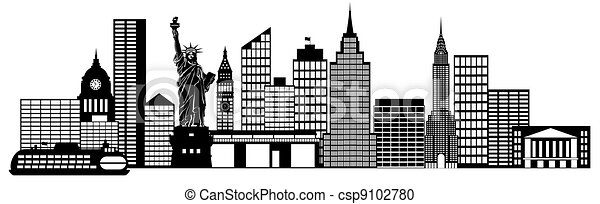 New York City Skyline Panorama Clip Art - csp9102780