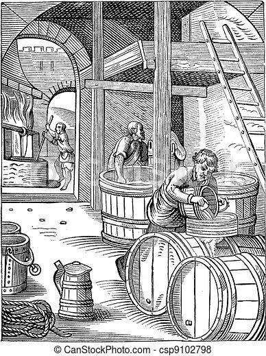 Three Brewer vintage engraving - csp9102798