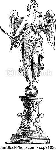 Statue of Fame in the centre of the fountain, Palace of Versailles,  vintage engraving. - csp9102804