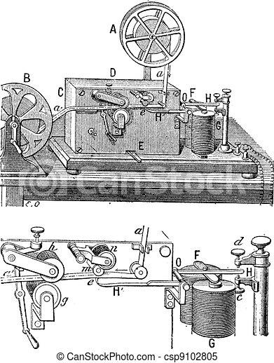 Telegraph, Morse apparatus, vintage engraving. - csp9102805