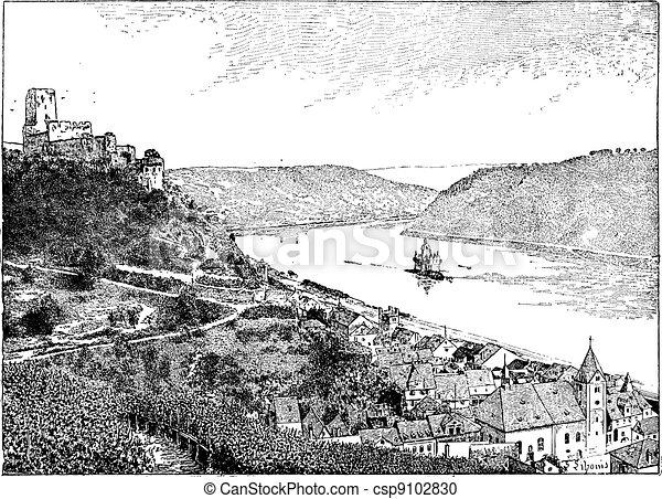 Burg Gutenfels, Rhin river, Germany, vintage engraving. - csp9102830