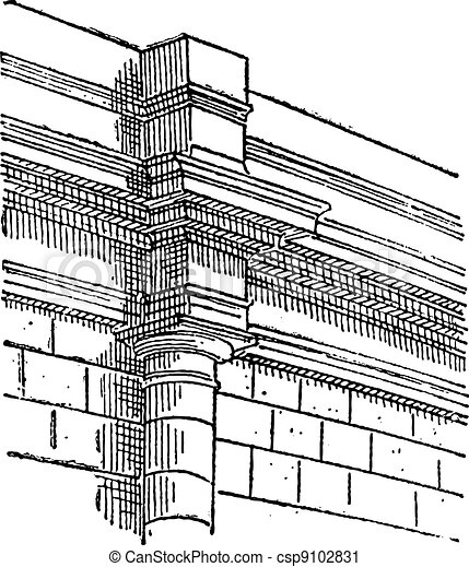 Pilaster, a projecting column, vintage engraving. - csp9102831