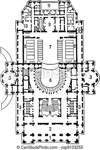 Plan of theater of opera, Paris, vintage engraving. - csp9103255