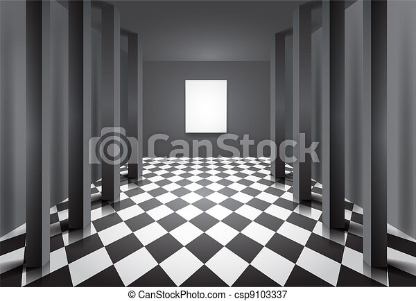 Hall with columns and blank canvas - csp9103337