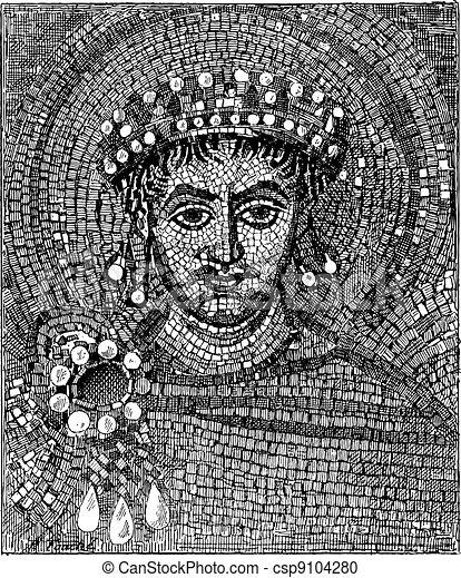 Justinian mosaic, vintage engraving. - csp9104280