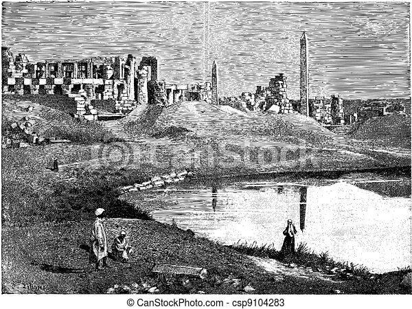 Karnak (Egypt) ruins of the great temple and obelisk, vintage engraving. - csp9104283
