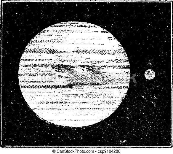 Jupiter and Earth, dimensions compared, vintage engraving. - csp9104286