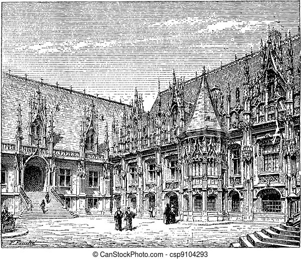Courthouse of Rouen, France, vintage engraving. - csp9104293