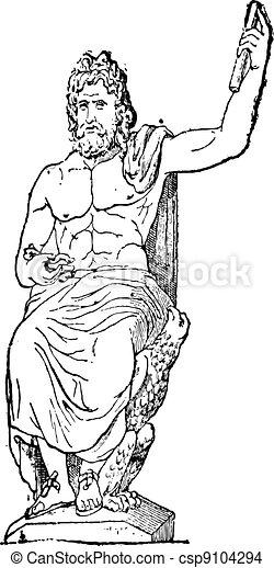 Jupiter at Vatican museum, vintage engraving. - csp9104294