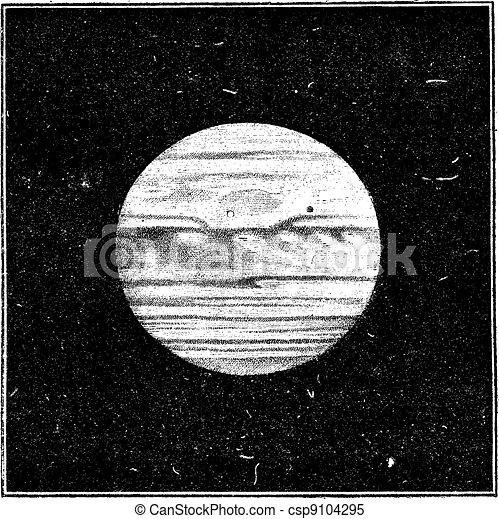 Aspect of Jupiter in December 1885 with a satellite passing the disc, vintage engraving. - csp9104295