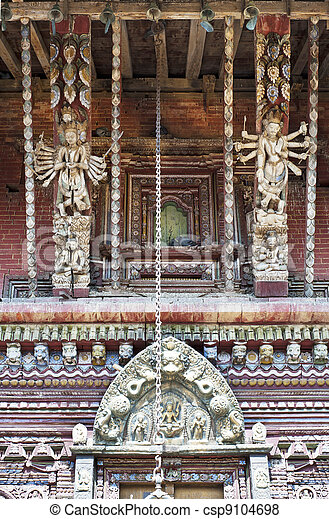 Nepal's temples, exquisite sculpture - csp9104698