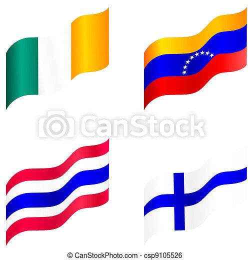 Set of flags of Ireland, Venezuela, Finland, Thailand - csp9105526