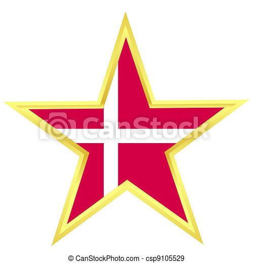Gold star with a flag of Denmark - csp9105529