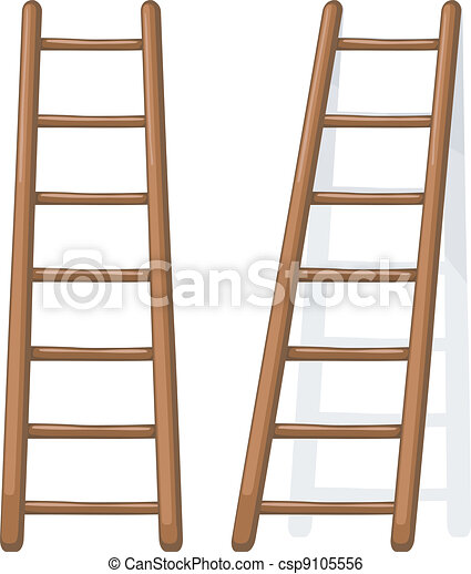 Vector cartoon illustration of a wooden staircase - csp9105556