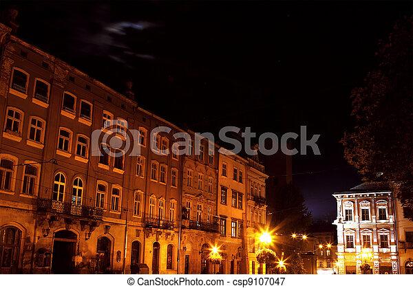 Lviv city by night - csp9107047