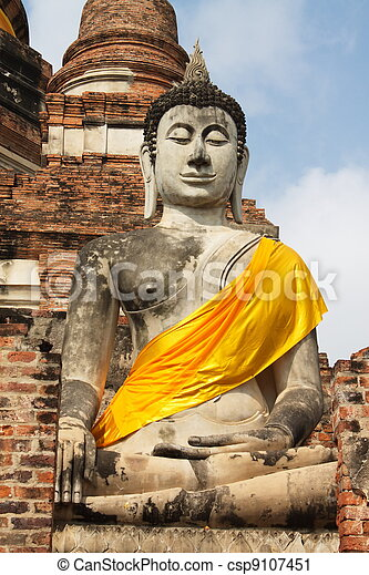 Old Temple of Ayuthaya, Thailand - csp9107451