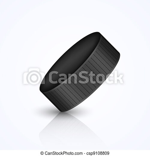 Vector hockey puck isolated on white - csp9108809