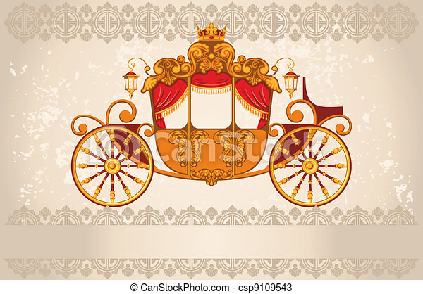 Vectors of Royal carriage the grunge background csp9109543 ...