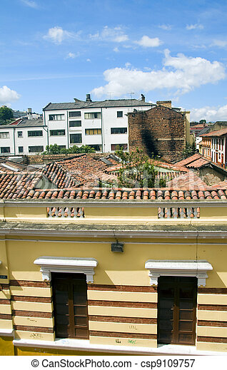 rooftop view La Candelaria Bogota Colombia colorful architecture historic district - csp9109757