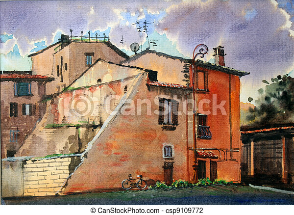 Urban scenic of Trastevere - csp9109772