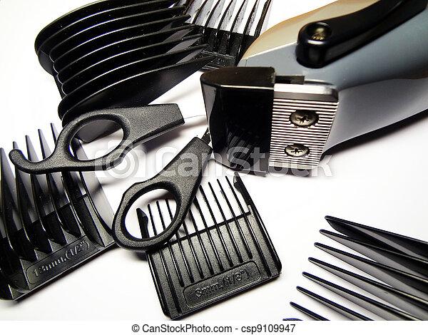 Plaatje van accessoires kapper assortiment witte achtergrond csp9109947 zoek naar stock - Witte kapper ...