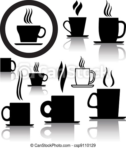 vector set of coffee and tea cup icons and symbols - csp9110129