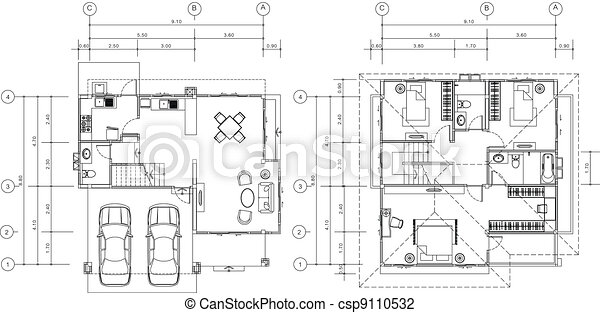 house plan vector - csp9110532