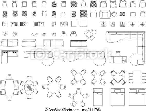 Grundriss Symbole Architektur : vektoren von bl cke m bel m bel bl cke csp9111763 ~ Lizthompson.info Haus und Dekorationen