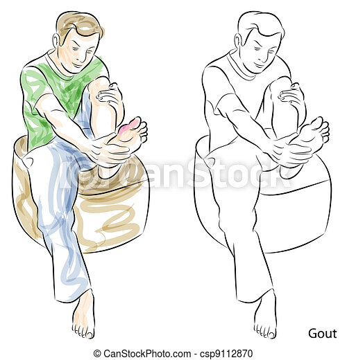 Man Massaging Gout Feet - csp9112870