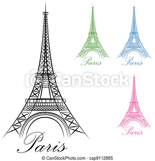 Paris Eiffel Tower Icon - csp9112885