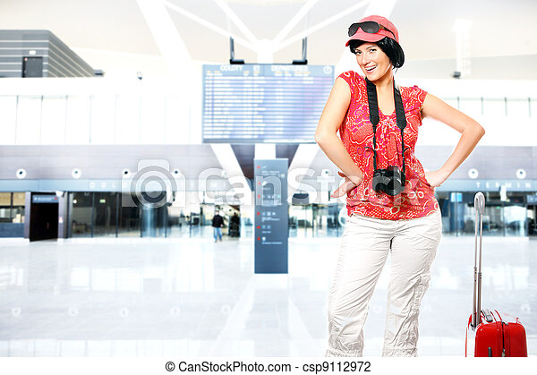 Tourist at the airport - csp9112972