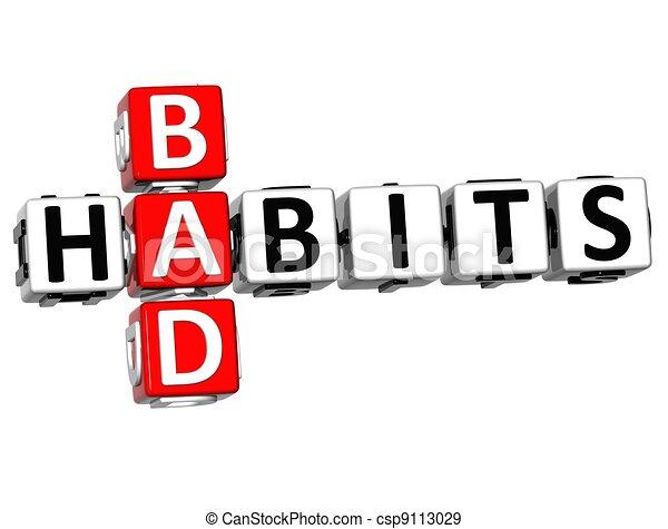 3D Bad Habits Crossword text - csp9113029