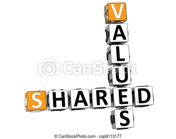 3D Sharing Values Crossword cube - csp9113177