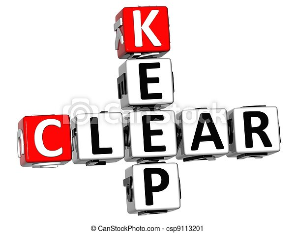 3D Keep Clear Crossword text - csp9113201