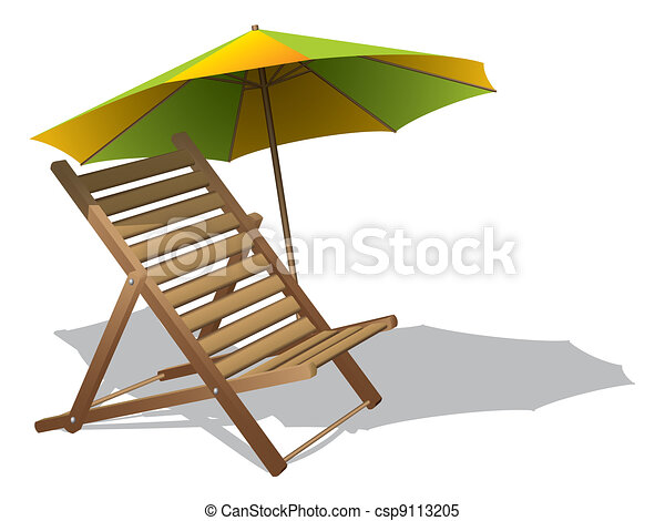 Beach chair with umbrella - csp9113205
