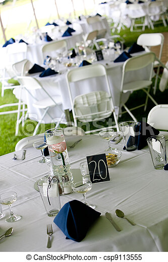 Wedding tables with blue napkins - csp9113555