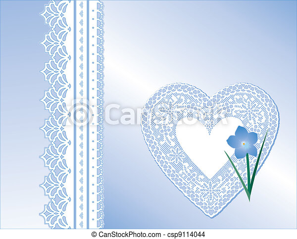 Lace Heart, Satin, Forget Me Not  - csp9114044