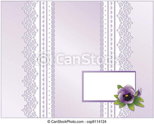 Lace, Pastel Satin, Pansy Flower - csp9114124
