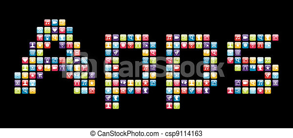 Mobile phone icons set in Apps word  - csp9114163