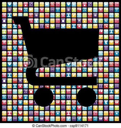 Smartphone app icon set business background - csp9114171