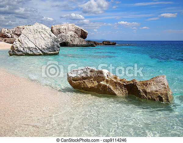 Rocky beach in Sardinia - csp9114246