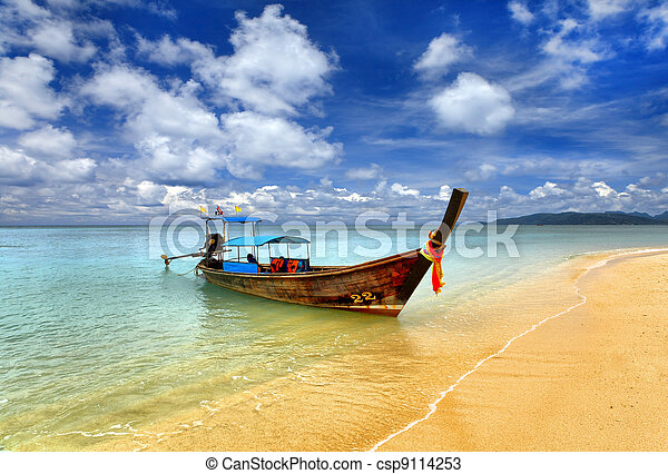 Traditional Thai boat, Thailand, Phuket - csp9114253