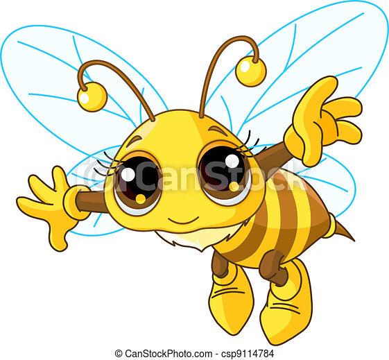 Cute Bee flying - csp9114784