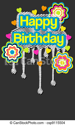 Trendy Happy Birthday Message - csp9115504