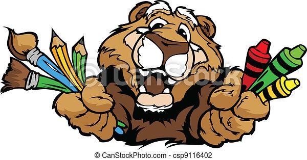 Happy Preschool Cougar Mascot Cartoon Vector Image - csp9116402