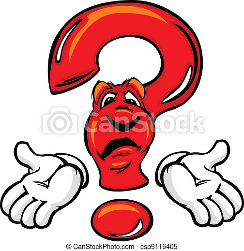 Confused Cartoon Question Mark with Hands - csp9116405