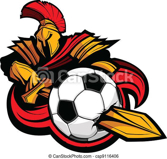 Greek Trojan or Roman Soldier Mascot holding a sword piercing a soccer ball - csp9116406